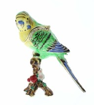 Parakeet Budgerigar Budgie Bird Jeweled Swarovski Crystal Trinket Box - £30.52 GBP