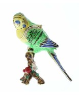 Parakeet Budgerigar Budgie Bird Jeweled Swarovski Crystal Trinket Box - €36,50 EUR
