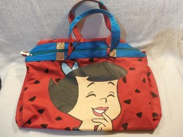 Flintstones 1994 Large Canvas Bone Zippered Duffel Bag w/Betty Rubble - $14.95