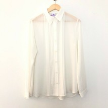 CAbi M Medium Playwright Button Front Sheer Blouse Long Sleeve White 3067 - $22.06