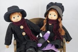 Amish Dolls PAIR Girl w/Doll and Boy Bench Ceramic Head Hands Plush Kids  - $28.54