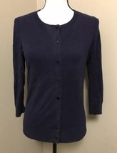 Talbots Dark Navy Blue Button Down Cardigan Sweater Pima Cotton Women's Size S - $16.44
