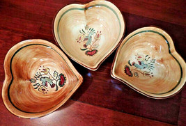 Pennsbury Pottery Morrisville Pa, 1950s 3 Heart Bowls Vintage Made in USA - $55.17