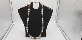 Vintage Signed Napier Silver & Burgundy Wine Color Beaded Necklace W/ Go... - $19.32