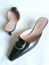 PRADA Double Ring Strap Pointed Toe Kitten Heel Mules Black Leather Wome... - $122.86