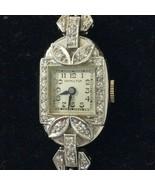 Vintage Deco Hamilton Platinum and Diamond  Ladies Cocktail Wrist Watch ... - $989.99