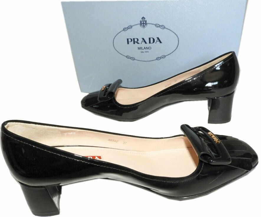 Prada Kiltie Low Heel Patent Leather Pumps Gold Logo Shoes 37 Fringes image 4