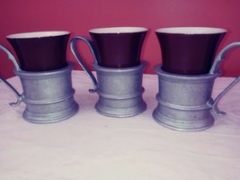 Hall Vintage Brown Coffee Cup #342 With Pewter Holder Set of 3 EUC - $20.30