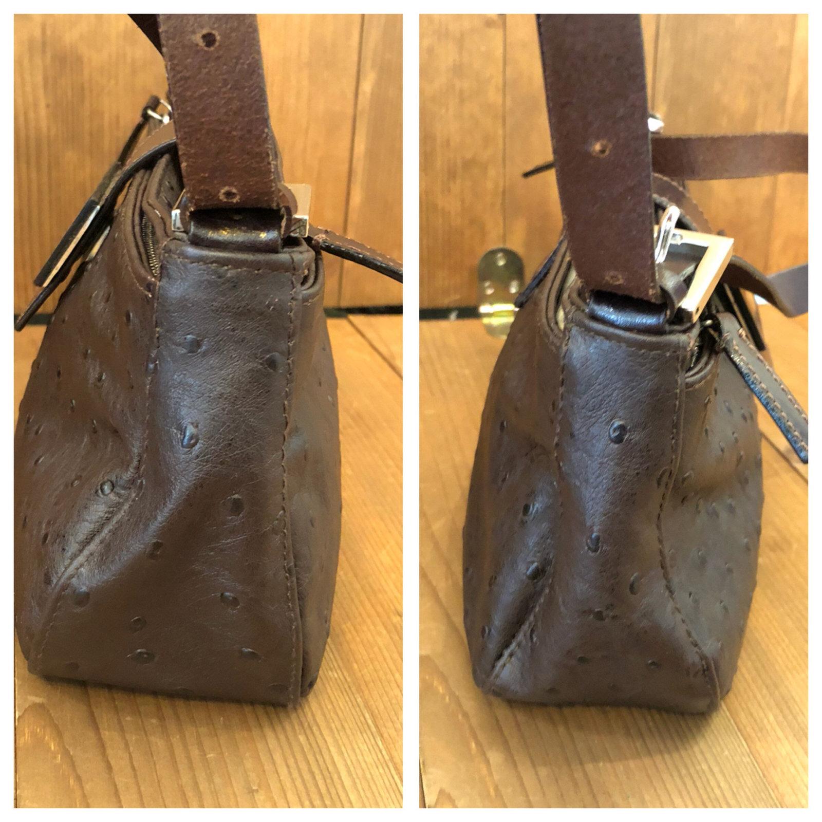 05e5c9b5fd7c Authentic Vintage FENDI Brown Ostrich Leather Baguette Handbag