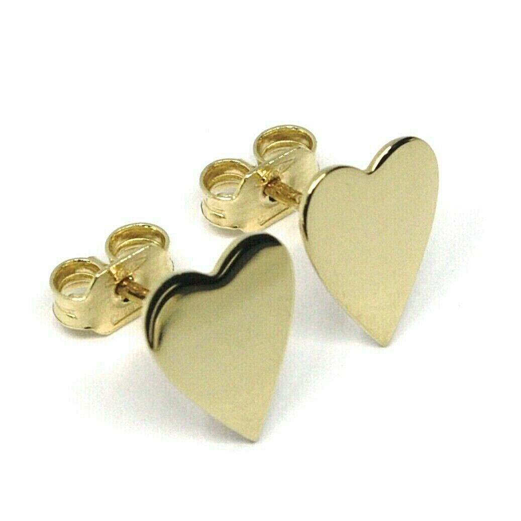 SOLID 18K YELLOW GOLD EARRINGS FLAT HEART, SHINY, SMOOTH, 10 MM, MADE IN ITALY