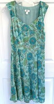 Women's Ann Taylor Loft Size 8 Teal/Green/Brown Dress Spring/Summer - $9.89