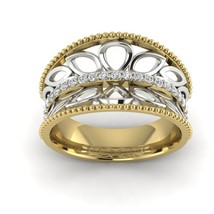 14k Yellow Gold Two Tone Anniversary Gift Fine Band Ring For Women Filigree - $526.98