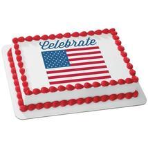 Celebrate America-Flag Edible Cake Topper Image - $9.99+