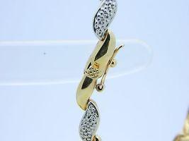 "VTG DBJ .925 Gold Vermeil Dual Tone Diamond Tennis Bracelet 7"" image 3"