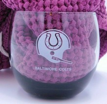 """Vtg Baltimore Colts NFL Clear Grey Smoked Lowball Glass 10 oz 3.5""""  - $9.99"""