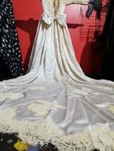 Antique Wedding Dress Victorian 1880s Silk Blonde lace Trim Vintage Butt... - $589.70