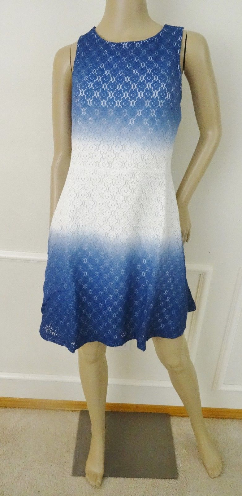Nwt ECI New York Stretch Lace Overlay Fit & Flare Dress Sz 10 Blue Ivory Ombre