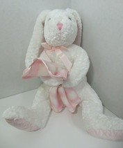 Commonwealth white Bunny Rabbit Plush pink quilted satin ear holds plaid blanket - $12.86