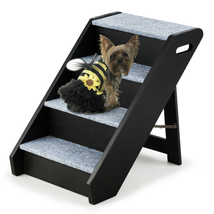 Carpeted Pet Stairs With Handle 4-Step Wooden Ramp Puppy Carpeted Pet L... - $93.67