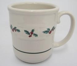 Longaberger Holly Woven Traditions Mug Christmas 12 Ounce Pottery USA - $14.84