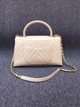 100% AUTHENTIC CHANEL 2017 CHEVRON QUILTED CALFSKIN COCO HANDLE BAG BEIGE GHW image 3