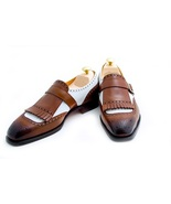 Handmade Men two tone monk shoes, Men formal shoes, Men brown and white ... - $149.99 - $159.99