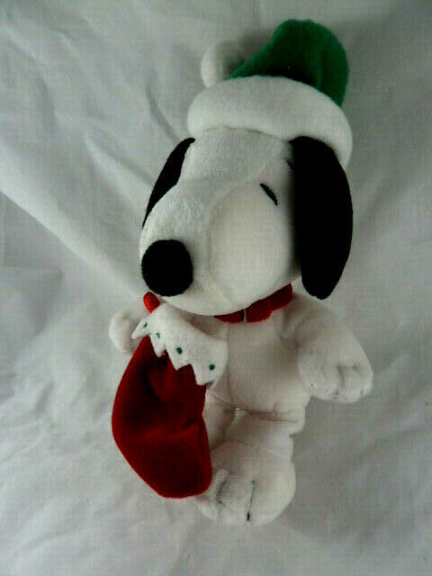 "Hallmark Christmas Snoopy Lovey 9"" Soft Plush Doll with hat and stocking"