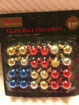 24 Vintage Woolworth Christmas Mini Ornaments Balls Red Blue Gold Feathe... - $9.85