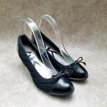 Anne Klein Womens Tallula  Sz 6.5 M Black Quilted Slip On Wedge Heels - $27.99