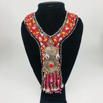 Vintage Turkmen Choker Necklace Pendant on Hand Sawn Soft Fabric Handmade,TN202 - $24.00