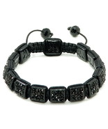 Bracelet Shamballa Iced Out Squares New Buddhist Macrame Adjustable Size... - $29.95