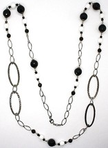 Silver 925 Necklace Burnished,Onyx,Spinel,Length 100 cm Chain, Oval image 2
