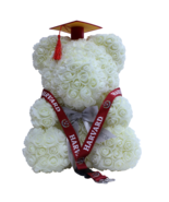 Graduation White Rose Bear Forever Cap & Tassel w/ FREE Harvard Lanyard ... - $158.39