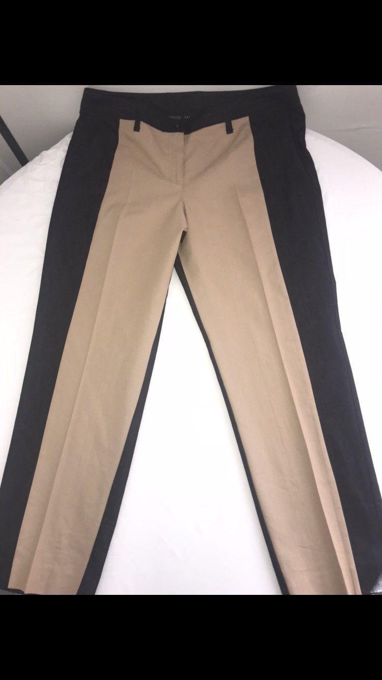 Women's Larry Levine Dress Pants Black & Tan Inseam 28 Khaki Casual Dress 16