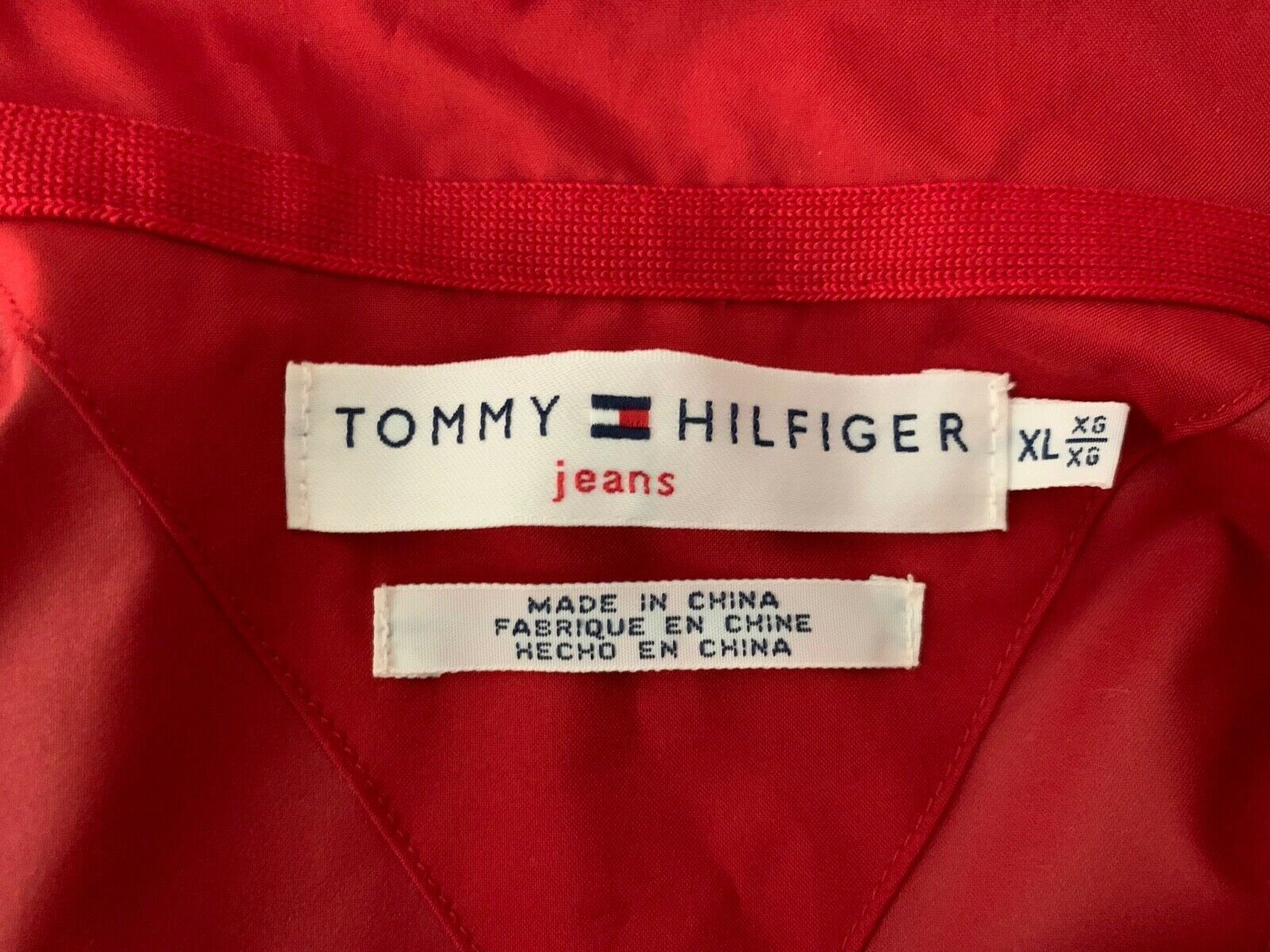 Women TOMMY HILFIGER Jeans RAIN Jacket Coat Windbreaker Pockets RED No Lining XL image 3