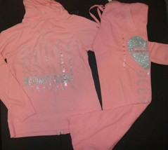 Victoria's Secret M HOODIE+sweatpants Peach pink silver heart ANGEL stud... - $138.59
