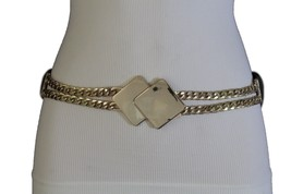 Women Black Elastic Fabric Waistband Fashion Belt Gold  Metal Squares Buckle S M - $15.67