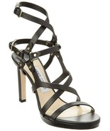 NIB $950 Jimmy Choo Monica Leather Strappy Studded Sandals Heels, Size 37 - $430.65