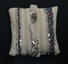 Handira Cushion Cover, Moroccan Berber cushion, crafted from vintage bla... - $126.00