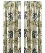 FLORAL DANDELION YELLOW GREY COTTON BLEND LINED PENCIL PLEAT CURTAINS 9 ... - $20.32+