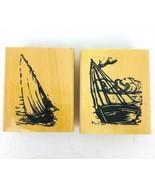 "Anita's Sailboat Rubber Stamp Set of 2 Water Sea 3"" Wood Block New  - $19.79"