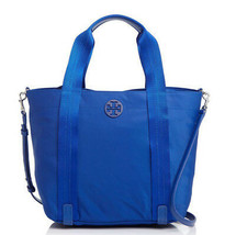Tory Burch Quinn Small Nylon Zip Tote Crossbody Blue ~NWT - $186.65