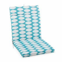 "Aqua Blue Dots Outdoor Patio Chair Cushion Pad Hinged Seat & Back 44"" L ... - $58.90"