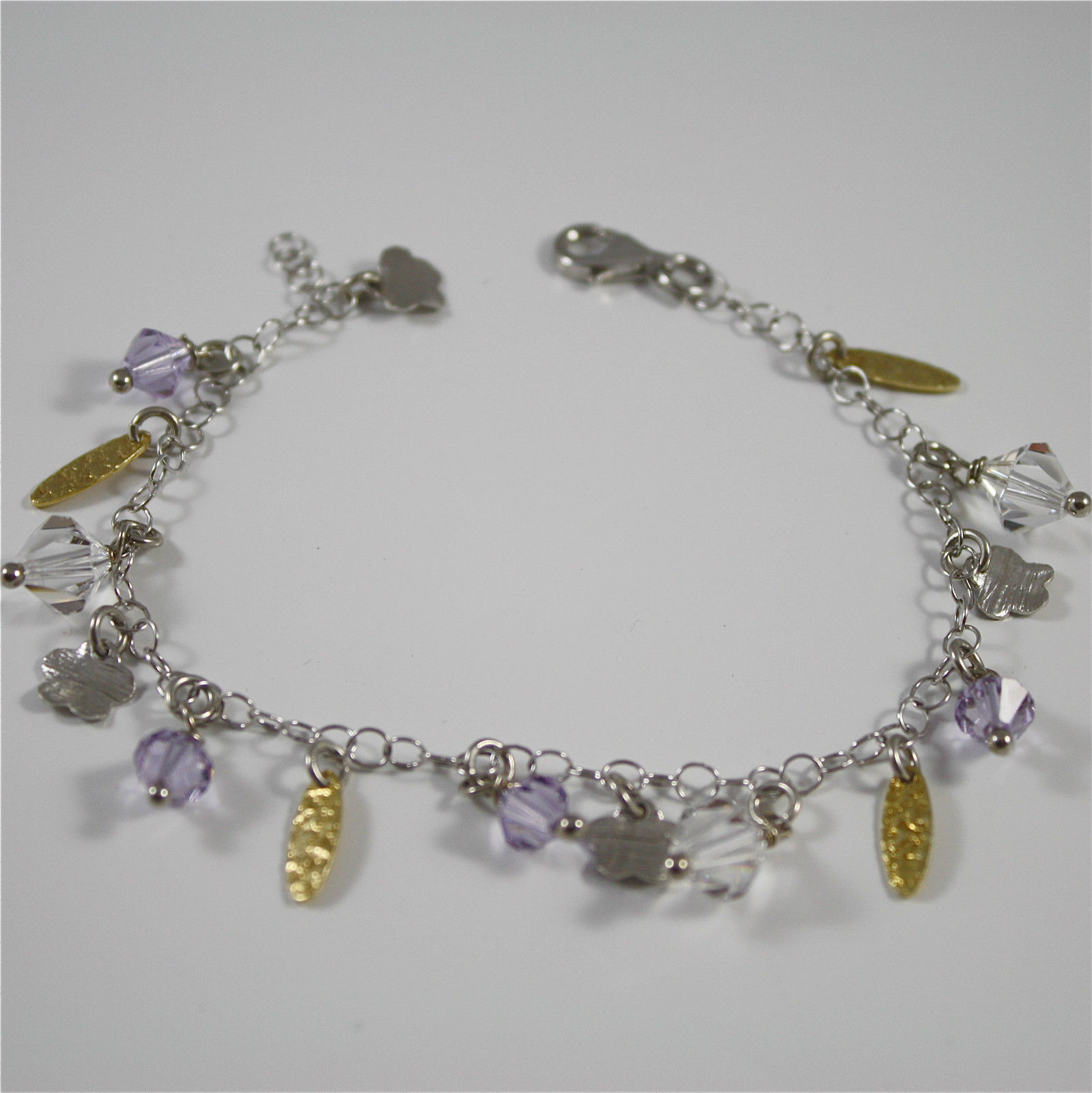 Bracelet in Sterling Silver 925 Rhodium and Yellow Gold Plated with Crystals ...