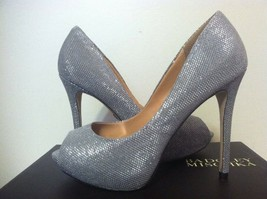 Badgley Mischka Drama Pewter Metallic Mesh Women's Evening High Heels Pu... - $88.21