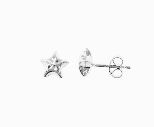 18K WHITE GOLD EARRINGS WITH VERY SHINY STAR WORKED MADE IN ITALY 0.28 INCHES