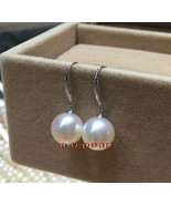 Top 18K GOLD 12-13MM round real NATURAL SOUTH SEA white PEARL Dangle EAR... - $751.15