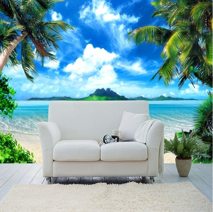 Tropical Beach And Peaceful Ocean: Beautiful 3D Tropical Beach Palm Trees Wallpaper White