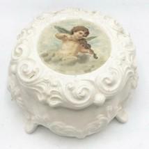 Vintage Porcelain Footed Trinket Box Ring Holder Cherub Violin - $34.64