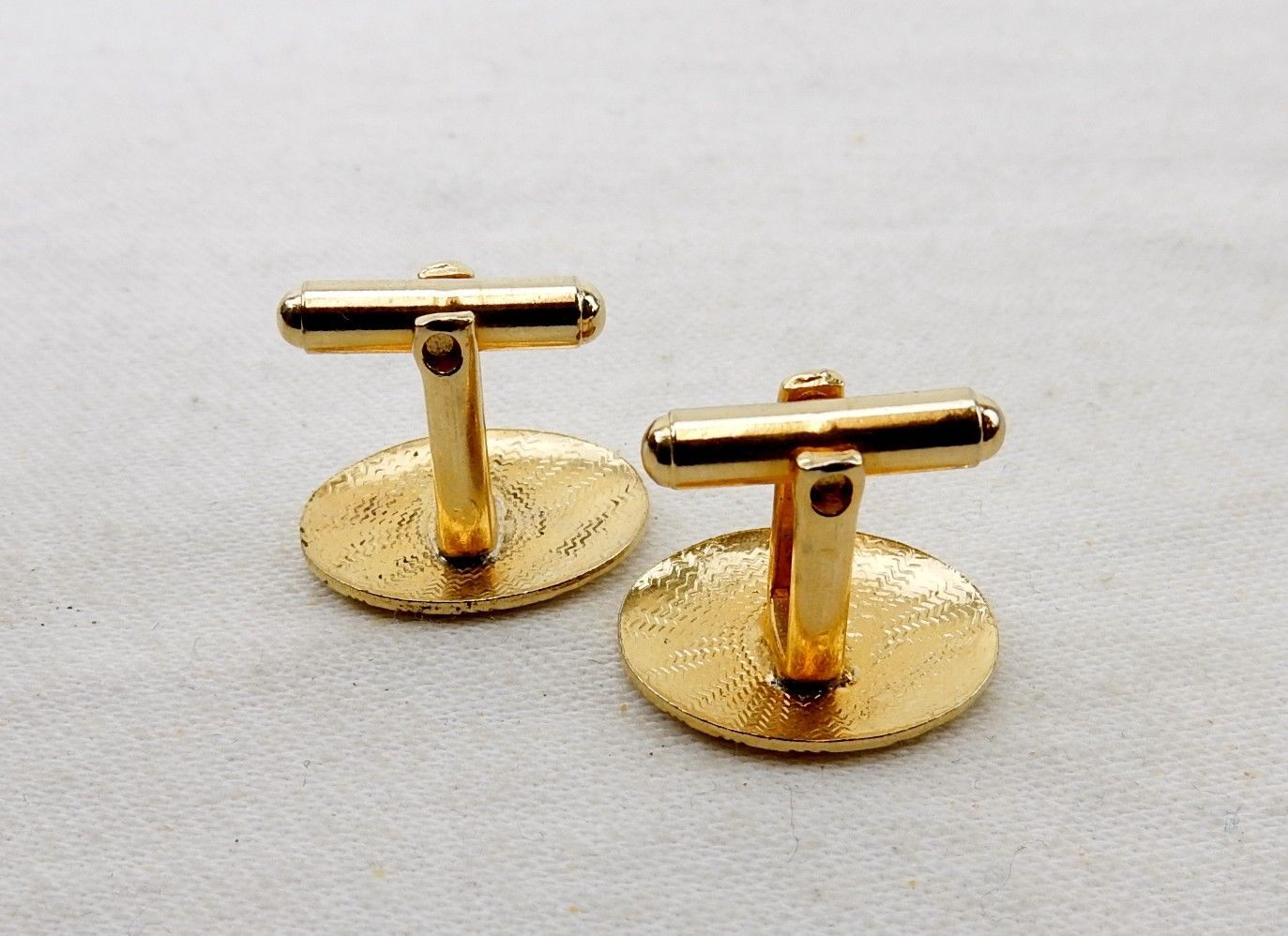 Vintage Cuff Links, Gold Tone Oval with Engraving, Bullet Back and Toggle